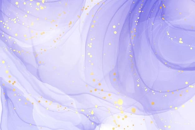 황금 얼룩이 있는 추상 럭셔리 라벤더 액체 수채화 배경