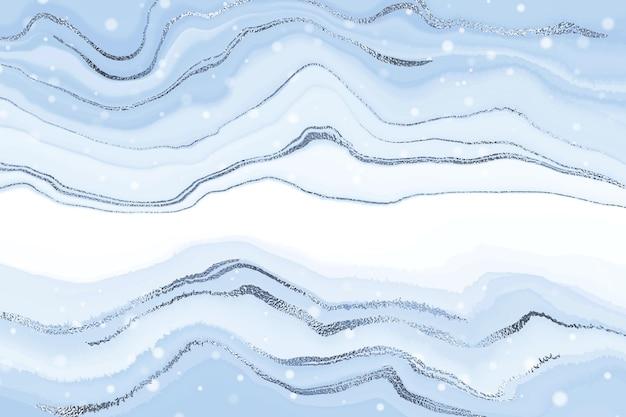 Абстрактная роскошная жидкая мраморная акварель сверкала синим фоном