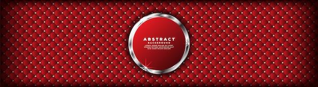 銀のバナーの背景を持つ抽象的な高級モダンな濃い赤