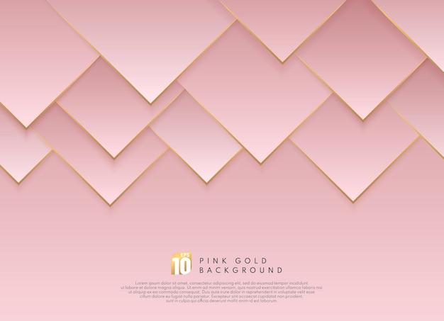 골든 라인 추상 럭셔리 핑크 골드 그라데이션 삼각형 모양