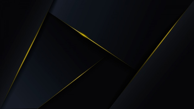 Abstract luxury polygonal dark blue background with gold lines.