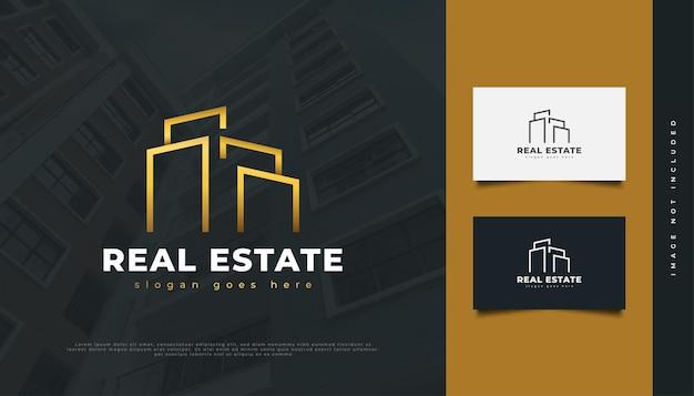 골드 라인 스타일로 추상 럭셔리 부동산 로고 디자인. 건설, 건축 또는 건물 로고 디자인