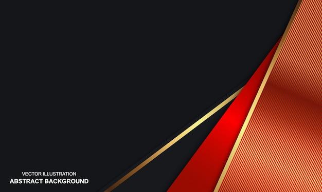 黒と金色の線でモダンなデザインの抽象的な豪華な赤い背景
