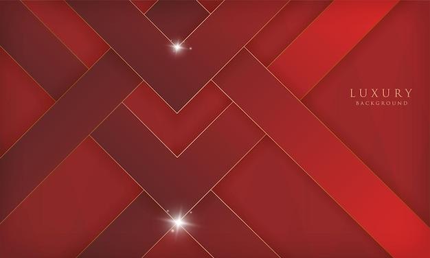 골든 라인 반짝이 기하학적 모양과 추상 럭셔리 빨간색 배경