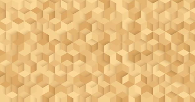 抽象的な豪華なシームレスな黄金の正方形の3dパターンの背景