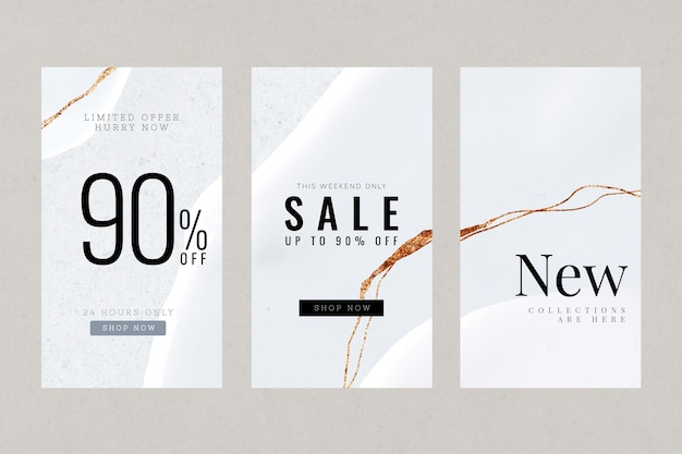 Abstract luxury social story vector template set