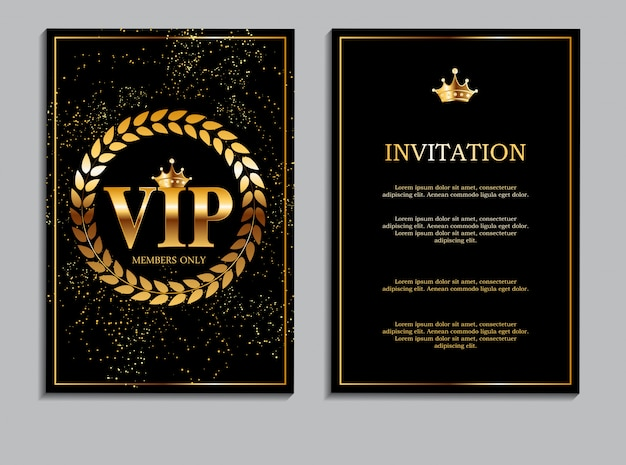 Abstract luxury vip members only invitation card template