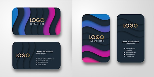 Abstract luxury wave pattern  business card template