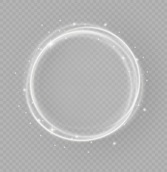 Abstract luxury white light ring with trace effect, light circles shining or starlight blinks, bright trace from the luminous rays of twisting in a rapid movement in a spiral, magic christmas concept,