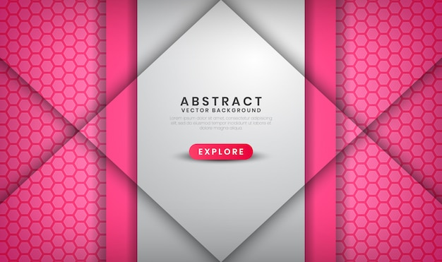 Abstract luxury white and pink background with hexagon patterns