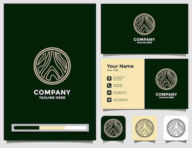 Абстрактный роскошный деревянный логотип с визитной карточкой