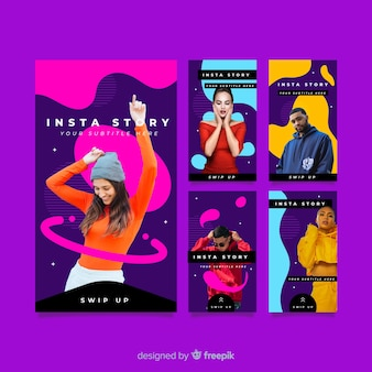 Abstract magenta instagram stories template