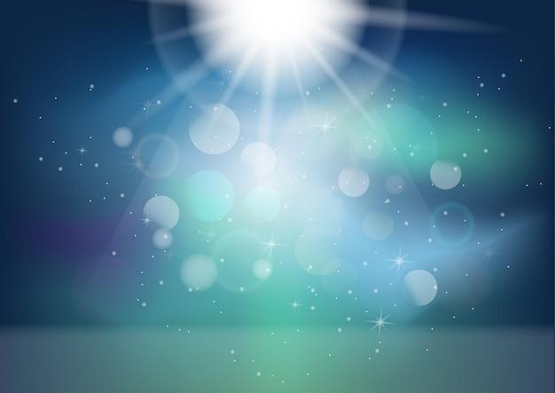 Bokehの背景を持つ抽象的な魔法の光