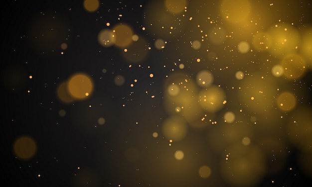 Abstract magical background with bokeh lights effect, black and white, silver, gold glitter