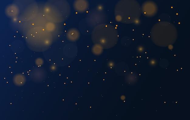Абстрактный волшебный фон с эффектом огней боке, черный, золотой блеск на рождество
