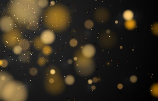 抽象的な魔法のボケライト効果の背景、クリスマスの黒、金のキラキラ