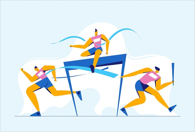 Abstract man in action jumping over hurdles in games