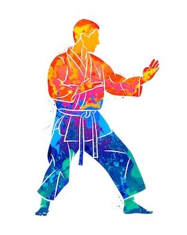 Абстрактный человек в карате тренировки кимоно из всплеска акварелей. иллюстрация красок