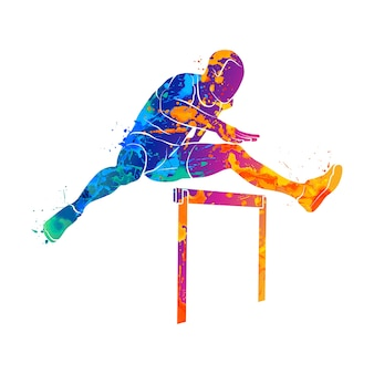 Abstract man jumping over hurdles from splash of watercolors.  illustration of paints.