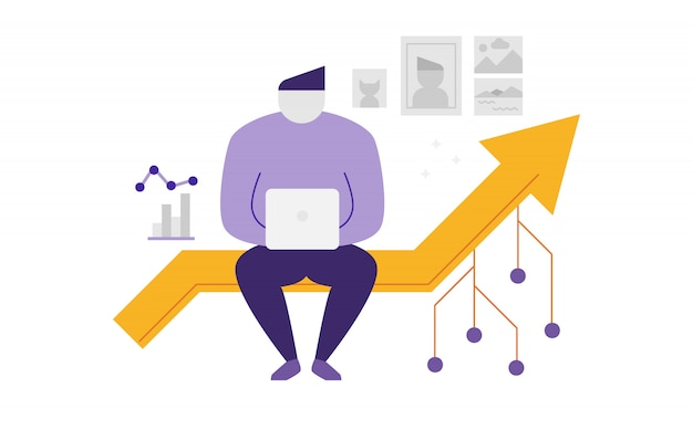 Abstract man sitting on a line graph illustration