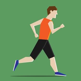 ドロップシャドウと緑の背景で実行されているショートパンツを着ている抽象的な男。スポーツ、健康的なライフスタイル、ジョギング、マラソン、競争の概念。 eps 8ベクトルイラスト、透明度なし