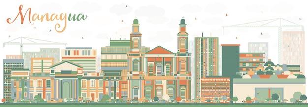 色の建物と抽象的なマナグアのスカイライン。ベクトルイラスト。近代建築とビジネス旅行と観光の概念。プレゼンテーションバナープラカードとwebサイトの画像。