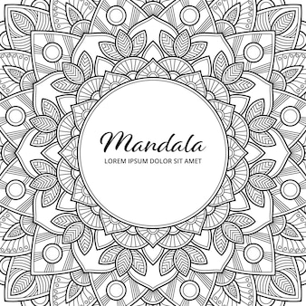 Abstract mandala arabesque adult coloring page book album cover illustration. t-shirt . floral wallpaper background.