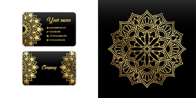 Abstract mandala business card. luxury arabesque background. floral pattern motif set in gold color
