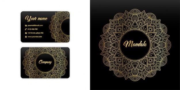 抽象的なマンダラ名刺。高級アラベスク背景。花柄モチーフゴールドカラー