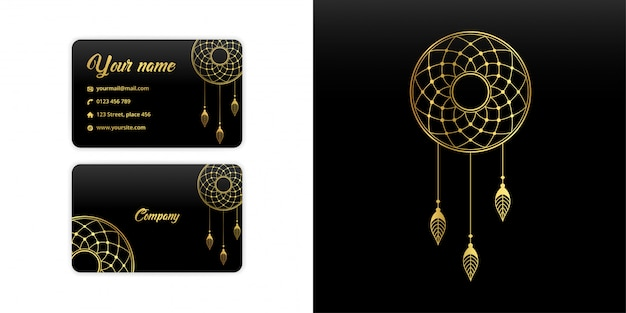 Abstract mandala dream catcher business card. luxury arabesque background. floral pattern motif set in gold color