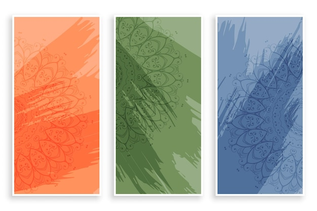 Abstract mandala style banners design Free Vector
