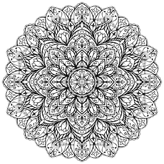 Abstract mandala template for coloring book page