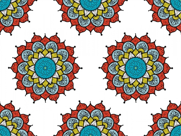 Abstract mandals boho seamless pattern