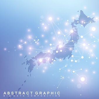 Abstract map of japan global network connection