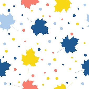 抽象的なカエデのシームレスなパターンの背景。デザインカード、壁紙、アルバム、スクラップブック、ホリデーラッピングペーパー、テキスタイルファブリック、バッグプリント、tシャツなどの子供っぽい手作りのカバー。