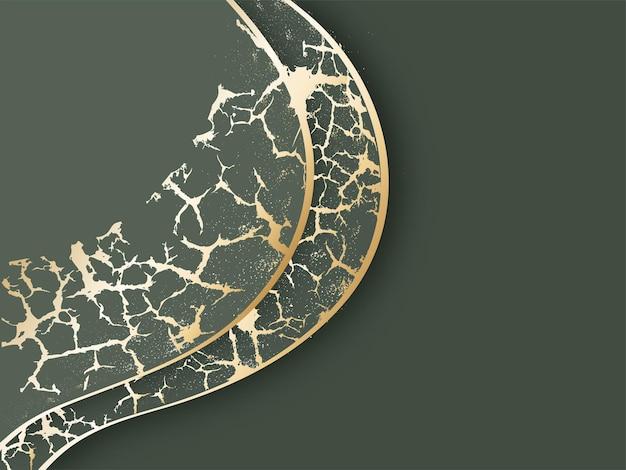 緑と金色の抽象的な大理石のテクスチャ背景。