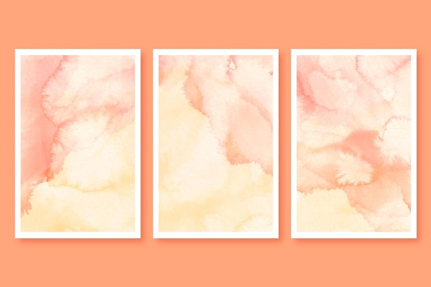 抽象的な大理石の水彩カードセット