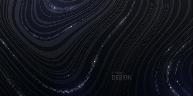 은색 빛나는 검은 줄무늬 텍스처와 추상 마블링 배경