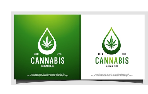 추상 마리화나 대마초 간자와 물 또는 기름 로고 디자인