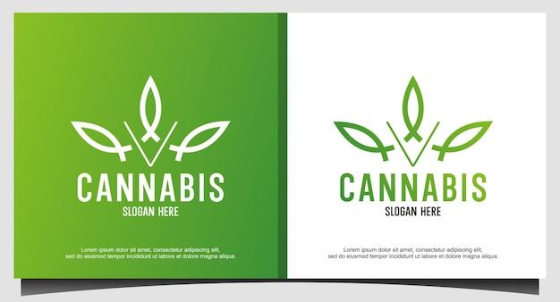 Abstract marijuana cannabis ganja logo design
