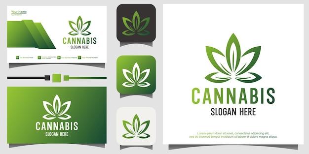 추상 마리화나 대마초 간자 로고 디자인