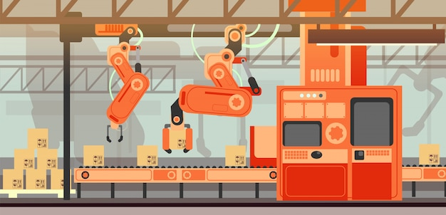 Abstract marketing vector concept with manufacturing assembly production line conveyor belt