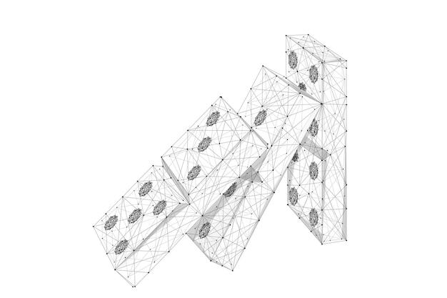 星空の碑文と白い背景の抽象的なマッシュラインとポイントドミノ効果