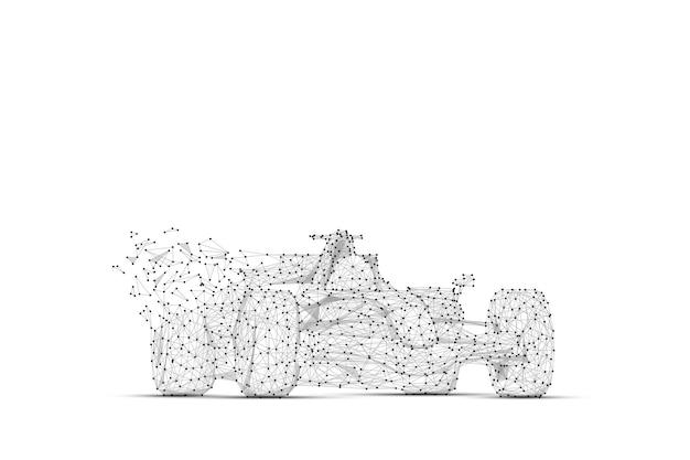 비문이 있는 흰색 배경에 추상 매시 라인 및 포인트 f1 car
