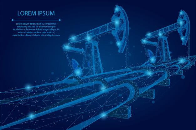 抽象的なマッシュラインとポイントオイルパイプライン低ポリビジネスコンセプト。多角形のガソリン生産。石油燃料産業の輸送