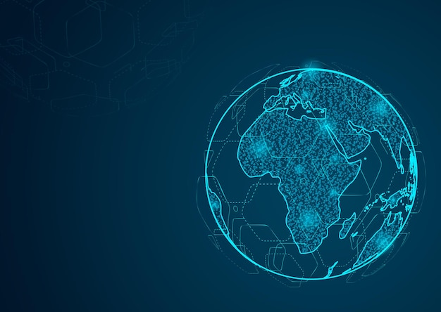 Абстрактная линия месива и точечные шкалы на темном фоне с глобальной картой мира. полигональная сеть