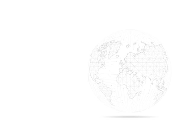Абстрактная линия месива и точечные шкалы с земным шаром. проволочный каркас 3d сетка полигональная сетевая линия, сфера дизайна, точка и структура.