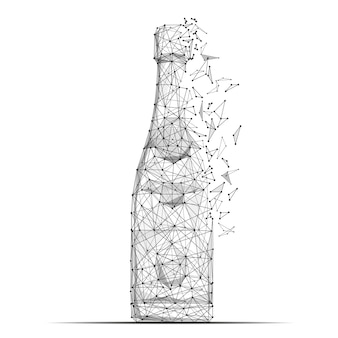 Abstract mash line and point bottle of champagne