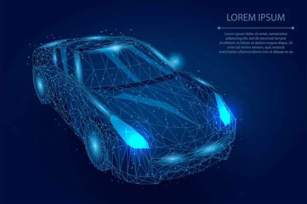Abstract mash line and point car. polygonal low poly automobile