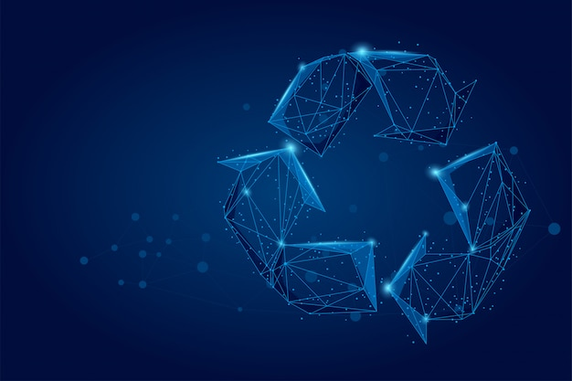 Abstract mash line and point low-poly recycle sign, save world ecology